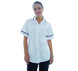 Warrior Nurses Tunic White with Navy Trim - 01NWHC4WN