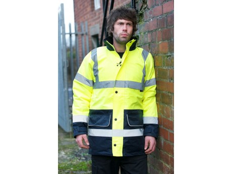 Warrior Hi Vis Denver 2 Tone Coat Yellow/Navy - 0118FAGTT