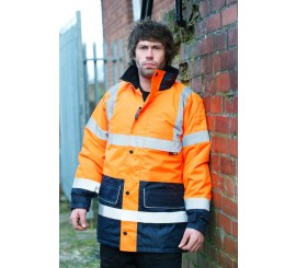 Warrior Hi-Vis Denver 2 Tone Coat Orange/Navy - 0118FAGTTON