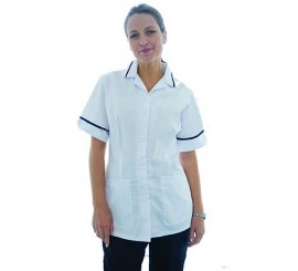 Warrior Nurses Tunic White with Navy Trim - 01NWHC4WN